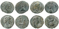 Roman Empire - Four roman bronze coins lot. Constans (2) and Constantius II (2) AE16-19 from Arles mint.
