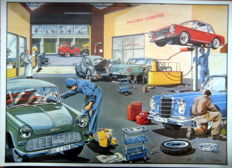 Nostalgic print - late 1960s workshop - Mercedes-Benz 230 Pagode/Mercedes-Benz 230SE/Volkswagen Beetle/DKW Junior