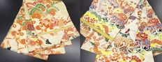 Two antique maru obis (kimono sash) decorated with traditional patterns – Japan – ca. 1950