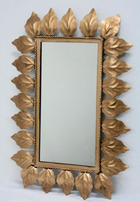 Vintage rectangular mirror made of gold plated metal, 1960s