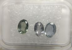 Triple Sapphire Light Greenish Blue / Bluish Green 1.90 ct     No Reserve Price
