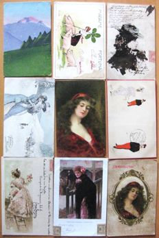 Collection of 60 old postcards from different countries - 44 with women, 5 with girls, 5 with movement, 5 romantic themed, 1 landscape - Early 1900