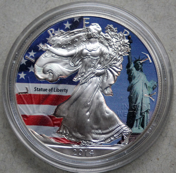 United States - dollar 2014 'American Eagle' - Statue of Liberty' with colour - 1 oz silver