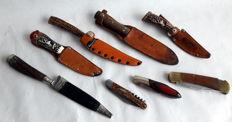 Collection 8 knives hunting knife / folding knife with wooden handles around 1970/1980