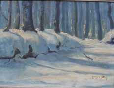 Louis van der Steen ( 1891-1954) - Winter in het bos