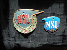 2 NSU plaques, partially enamelled