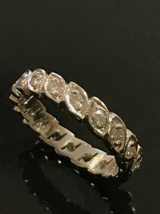 18 kt white gold American wedding ring with diamonds of 0.72 ct Top Wesselton - size 52 / 16.63 mm