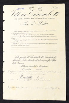 Decree with original signatures of Benito Mussolini and of the King of Italy Victor Emmanuel III - 1925