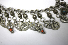 Antique Ottoman head jewellery - silver with old coral and turquoise handmade 835/1000