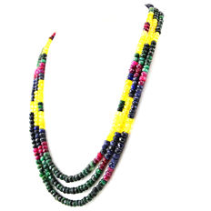 Ruby Emerald Citrine & Sapphire necklace with 18 kt (750/1000) gold Clasp, length 50cm