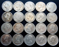 Spain - Alfonso XII and Alfonso XIII - Lot of 20 silver 50 cents coins