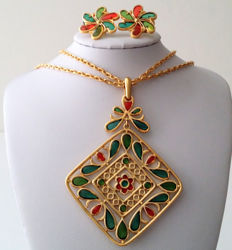 Crown TRIFARI Necklace and Earrings Set