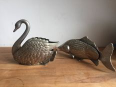 two silver plated napkin holders of a swan and a fish - 20th century - Italy