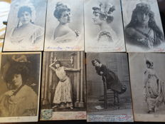 Old album with 76 old postcards of actors and comedy