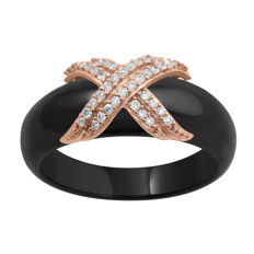 Brand new Trendy fashion 14Kt. pink gold with ceramic band ring set with diamonds 0.16ct.,GH colour and P1 clarity ,Size P/56