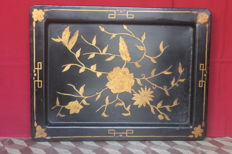 Large leaf tray, painted gold, 19th century