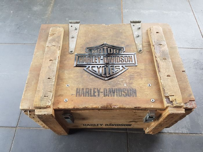 Harley Davidson parts box with metal bar and shield - approx. 1970