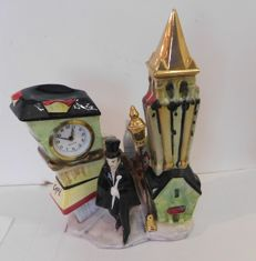 China furniture ornament with Mercedes clock - 1950s/1960s, made in Germany