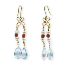 18 kt yellow gold - dangle earrings - 9.00 mm aquamarine - Coral - 4.30 mm pearls
