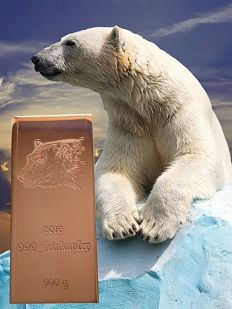 500 g copper bar - polar bear - 999 fine copper - 9th motif out of 10 - with certificate - Germany 2016