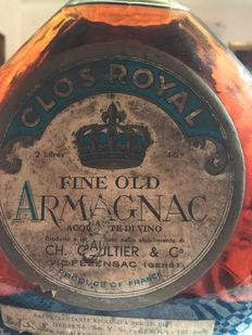 Ch. Gaultier 'Clos Royal' - Fine Old Armagnac - Late 1930s - 2 Litres