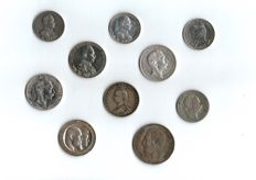 Germany, Austria, England, Belgium -- 10 different silver coins