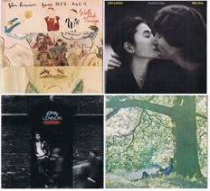 John Lennon - Lot of 4 original LP's: Yoko Ono/Plastic Ono Band (1970) | Rock'n'Roll (1975) | Walls and Bridges (1974) | Double Fantasy (1980) | all original 100% analogue LP 's