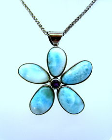 Larimar pendant with amethyst, set up in silver 925