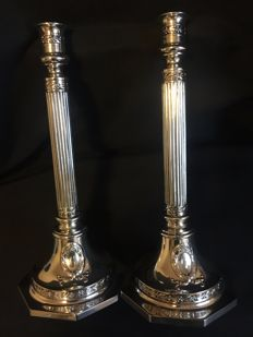 Pair of large silver candlesticks , Julius Lemor - Breslau, Germany - late 19th, early 20th century