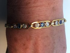 Bracelet in 750 gold with sapphires and diamonds