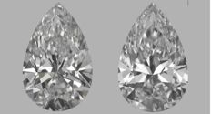 Pair of  Pear  Brilliants 0.64ct total   E VVS2- F VVS2  IGI  - Original image 10EX  SERIAL # 300B-300E