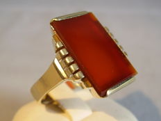 Antique handmade ring with large carnelian approx. 6 ct