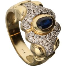 14 kt - Yellow gold ring set with sapphire and zirconia - Ring size: 17.5 mm