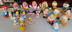 Vintage rare collection of 22 Rubber sixties Squeeze figures - 7 Dwarfs, Mickey, Donald, Pluto, Mini etc Famosa + Walt Disney etc.