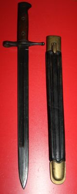 Bayonet for 6.5 mm Carcano M 1891, Italy, in good condition,  Clear numbers. Leather sheath with copper parts