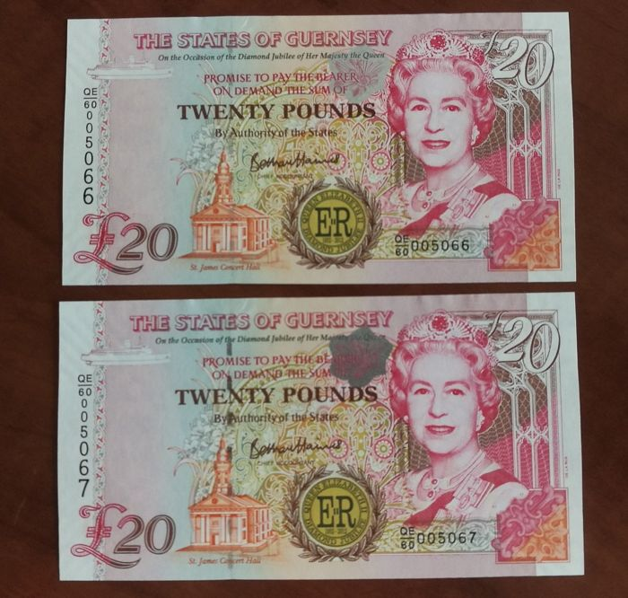 Guernsey - 2 x 20 Pounds 2012 - Consecutive Serial - Queen Elisabeth II Diamond Jubilee  - Pick 61