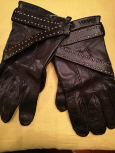 Versace Leather Gloves with Chamois Interior