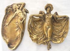 Pair of Vide-Poche – Art Nouveau catchall - bronze casting - first half of the 20th century