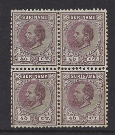 Suriname 1880 - King Willem III First emission - NVPH 12C in block of four