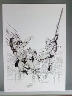 Jean-Yves Mitton - Rare Spider-man / Superman A3 Limited Edition Print - Only 10 Produced - Numbered And Signed