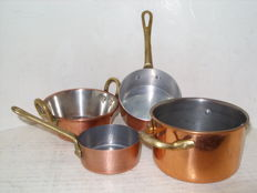 Set of 4 French copper pans
