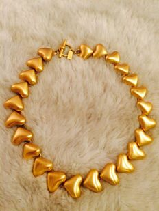 Gorgeous rare vintage 1960 signed ''Talbots'' RUNAWAY gold tone necklace