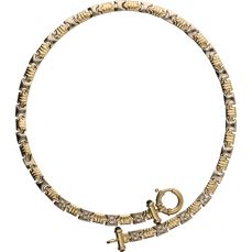 14 kt - Bi-colour, yellow/white gold link necklace set with sapphire and zirconia - Length: 45 cm