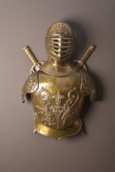 Very nice decorative helmet, harness with swords, Belgium, ca 1900