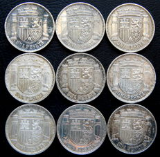 Spain - 2nd Republic - 1 peseta 1933 - Lot of nine coins - Silver