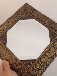 Beautiful metal and wooden mirror - early 1900s - acanthus and diamond-shaped pattern
