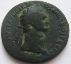 "Roman Empire - Domitian, 81-96 AD, AE Sestertius ""Jupiter seated"""