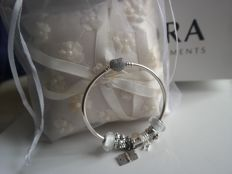 Pandora heart bracelet 'always in my heart' + 7 charms - 925 silver and zircons in pavé.