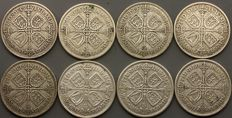 United Kingdom - Florin (Two Shillings) 1928/1936 George V (8 coins) - silver