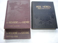 Lot with 3 volumes over Belgium in the first world war-1920/1924